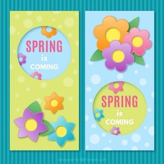 Floral banners du printemps est allées