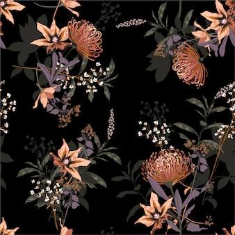 Floral blooming élégant dans le modèle sans couture de nuit jardin