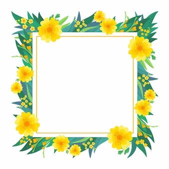 Floral carré vide cadre jaune fleurs de printemps