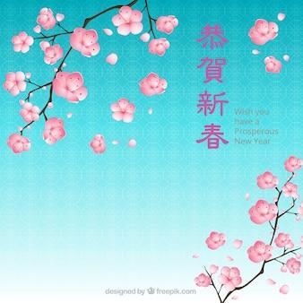 Floral chinois nouveau fond de l'année
