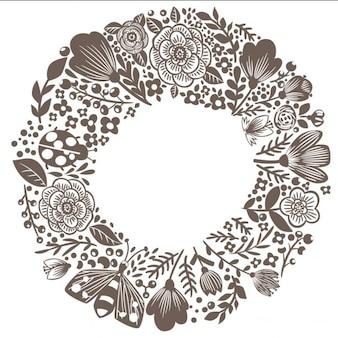 Floral couronne de doodle en citant dream big