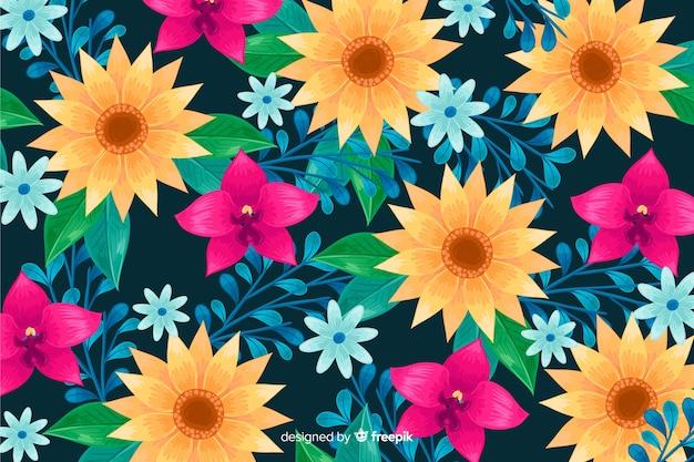 Floral décoratif fond dessiné à la main