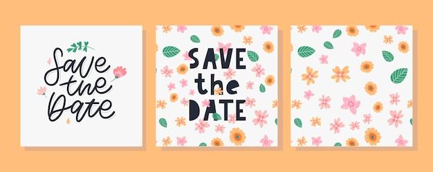 Floral enregistrer la carte de date et ensemble de motifs floraux