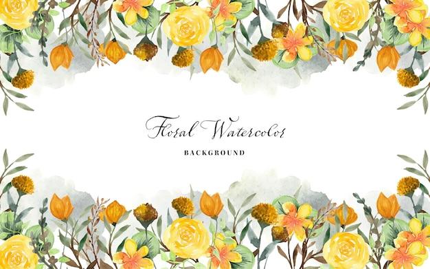 Floral fond aquarelle avec des fleurs sauvages jaunes