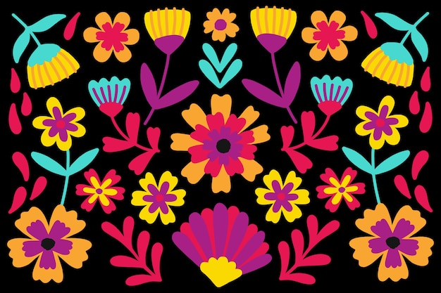 Floral fond mexicain