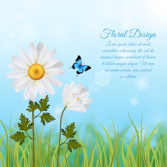 Floral fond avec modèle de texte