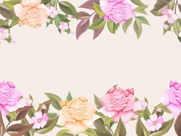 Floral fond transparent avec des roses et des feuilles