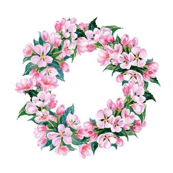 Floral frame une couronne de fleurs de pomme aquarelle template vector