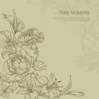 Floral frame dessiné avec espace de texte