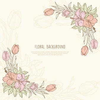Floral frame dessinée à la main avec espace de texte