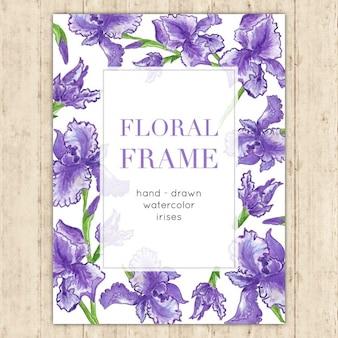 Floral frame élégant avec iris d'aquarelle