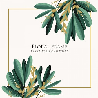 Floral frame tropical dessinés à la main