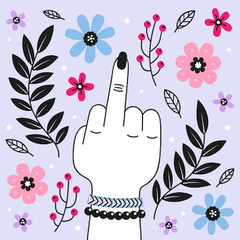 Floral fuck you symbol