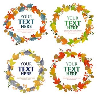 Floral guirlande de feuilles d'automne avec un modèle de texte