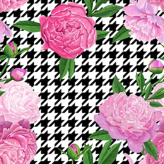 Floral pattern sans couture avec des fleurs de pivoine rose. fond de fleurs de printemps pour le tissu, les estampes, la décoration de mariage, l'invitation, les papiers peints, le papier d'emballage. illustration vectorielle