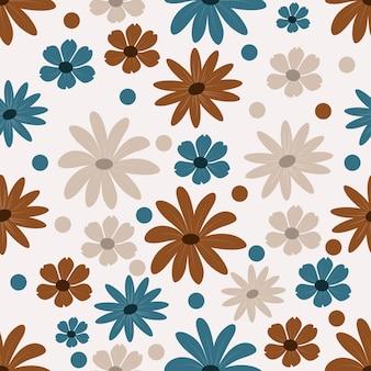 Floral pattern sans couture en fond bleu et marron