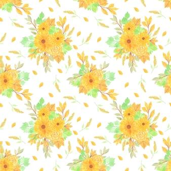 Floral pattern sans couture avec fond floral jaune