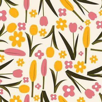 Floral pattern sans couture en fond jaune rose et vert