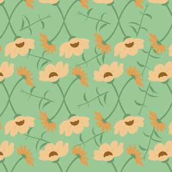 Floral pattern sans couture en fond marron et vert