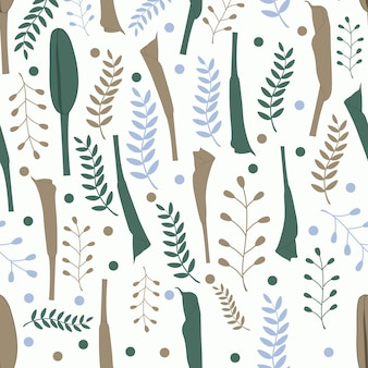 Floral pattern sans couture en fond vert et marron