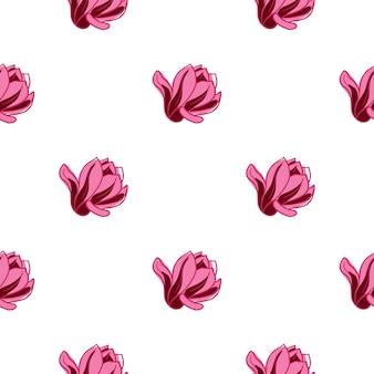 Floral pattern sans couture isolé avec des fleurs de magnolia rose vif