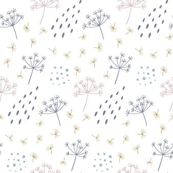 Floral pattern sans couture avec des points et des formes.