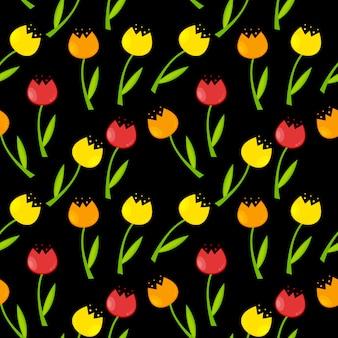 Floral pattern sans soudure de fond avec des tulipes vector illustrati