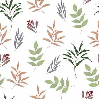 Floral pattern sans soudure avec verdure et baies