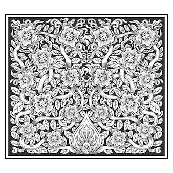 Floral plante fleurs illustration main dessin vectoriel