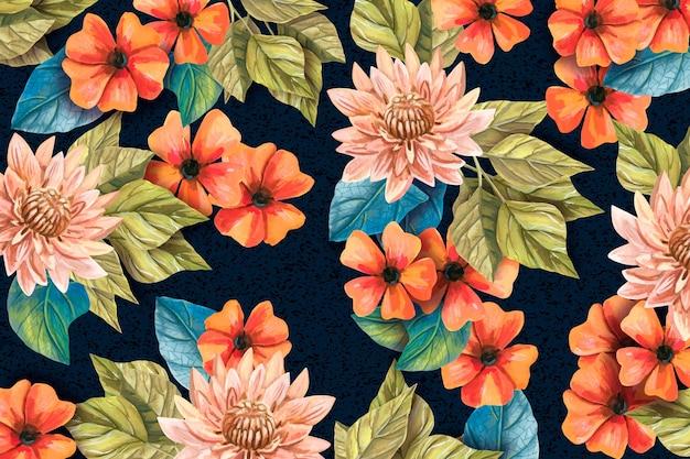 Floral réaliste fond peint à la main
