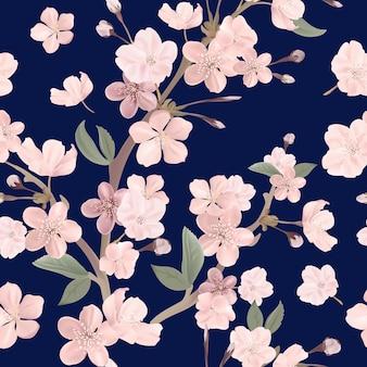 Floral rétro modèle sans couture, fond de fleurs de cerisier ou de sakura, illustration vintage pastel en vecteur
