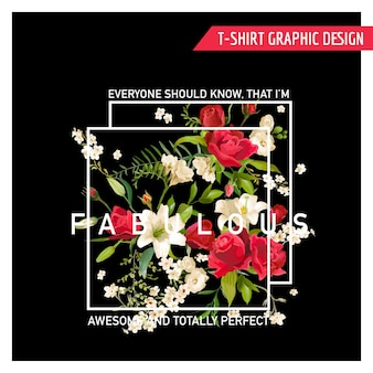 Floral rose and lily graphic design pour t-shirt, mode, imprimés en