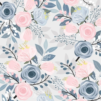 Floral rose et bleu avec motif de feuilles.