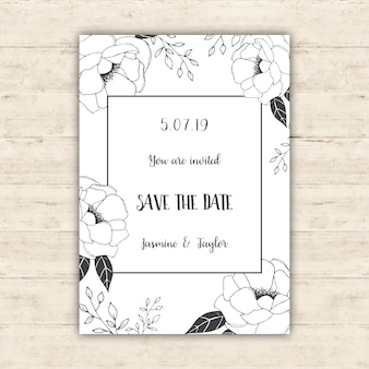 Floral save the date card design
