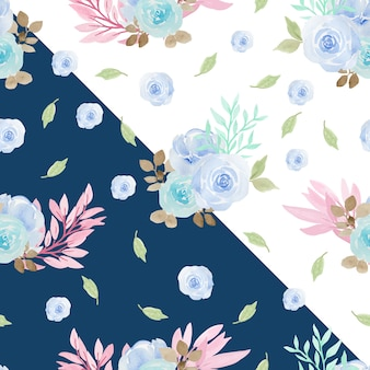 Floral seamless pattern avec de belles roses bleues