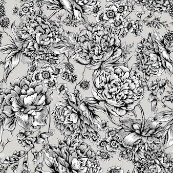 Floral seamless pattern avec pivoines dans un style vintage