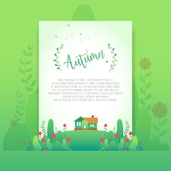 Floral vert automne belles fleurs dégradé pour carte d'invitation