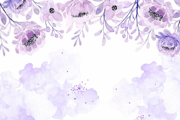 Floral violet doux avec fond abstrait aquarelle