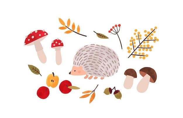 Flore et faune forestières illustration vectorielle dessinés à la main. peinture à l'aquarelle de symboles de saison d'automne. hérisson, feuillage, champignons, pommes biologiques et baies naturelles isolées sur fond blanc.