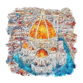 Florence italie aquarelle croquis illustration dessinée à la main