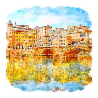 Florence italie croquis aquarelle illustration dessinée à la main