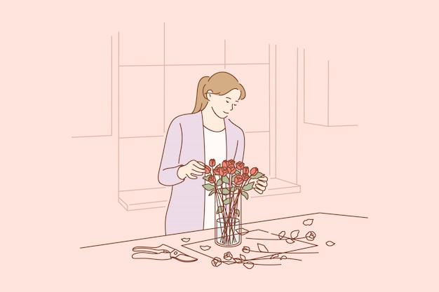 Floristique, entreprise, concept de décoration