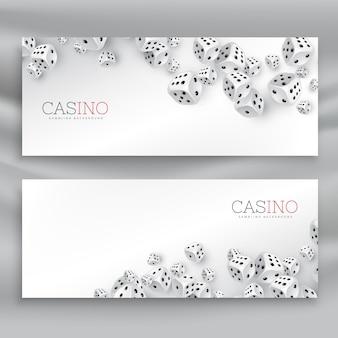 Flottant bannières de dés de casino mis