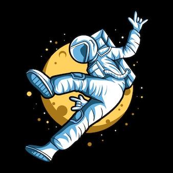 Flotteur astronaute avec doigt en métal sur la conception de l'espace avec la lune en arrière-plan