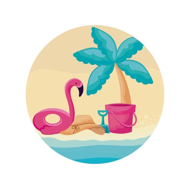 Flotteur flamand avec palmier tropical vacances à la plage