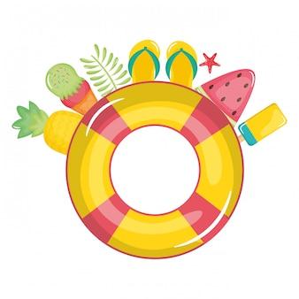 Flotteur sauveteur avec des icônes de l'été autour