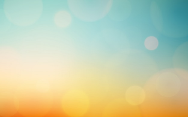 Flou abstrait bokeh et lumière parasite sur ciel bleu vintage et orange