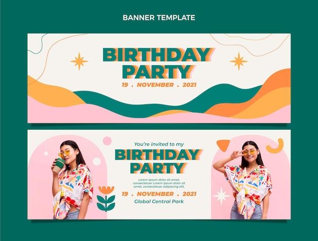 Flt design bannières d'anniversaire minimales horizontales