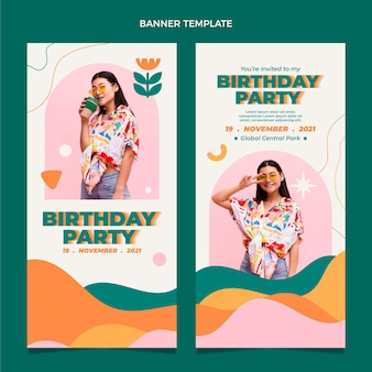 Flt design bannières d'anniversaire minimales verticales