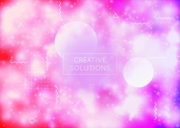 Fluide géométrique. conception holographique. magazine irisé brillant. présentation abstraite. dépliant simple. points à la mode. forme magique bleue. vecteur doux. fluide géométrique violet